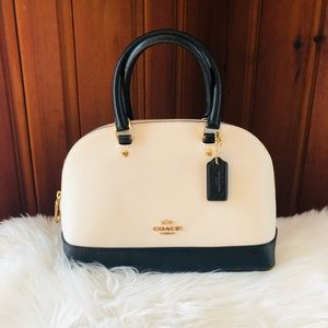 Small Off-White/Cream & Black Coach Satchel Purse